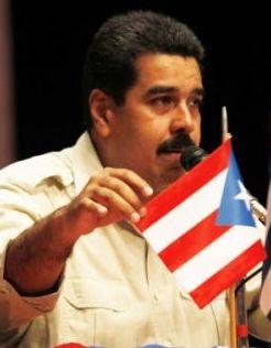 nicolas maduro  with pr flag