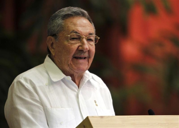 Cuba's President Raul Castro addresses the audience during the closing ceremony of Cuban communist congress in Havana