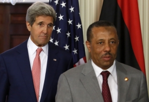 Kerry and Libya's Prime Minister Abdullah al-Thinni