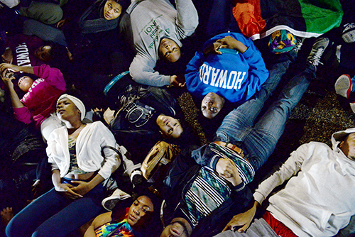 ferguson protests students lying on the ground at the white house