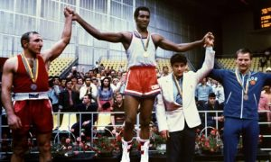 Cuban champion boxer Teófilo Stevenson on the podium