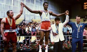 Cuban champion boxer Teófilo Stevenson on the podium