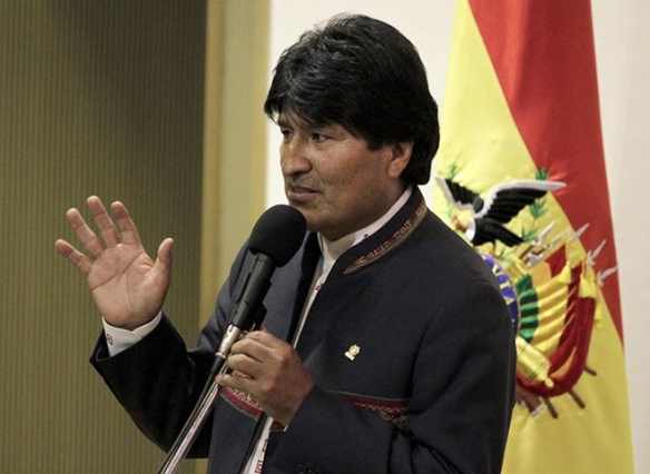 Bolivia's President Evo Morales speaks during a news conference in La Paz