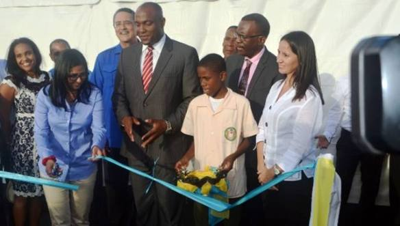 ribbon cutting for the alba bridge in st lucia