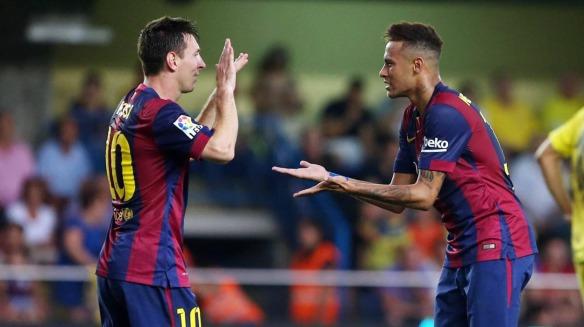messi y neymar celebrate