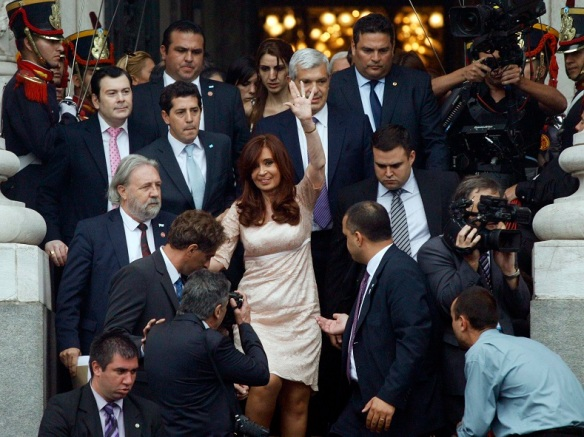 Argentina's President Cristina Fernandez de Kirchner leaves after the opening session of the 133rd legislative term of Congress in Buenos Aires