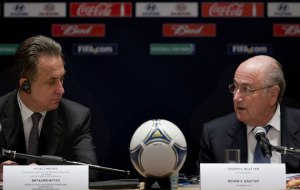 Sepp Blatter and Russia's Sports Minister Vitaly Mutko