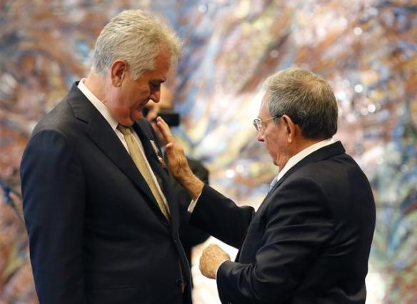 serbian president receives cuban top national award