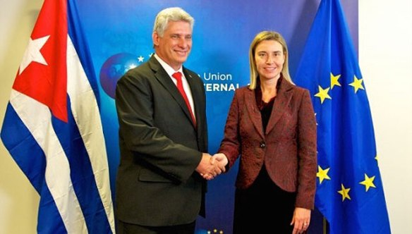 miguel diaz canel and frederica mogherini