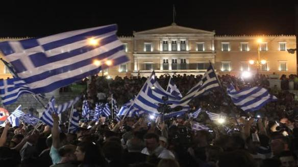 greeks celebrate referendum victory