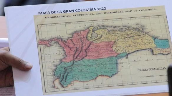 mapa la gran colombia 1822