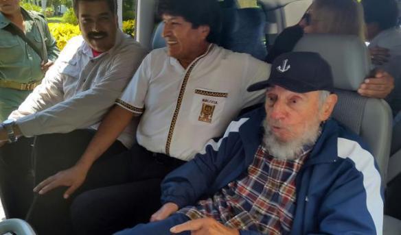 fidel y nicolas y evo aug 13 2015 in vehicle