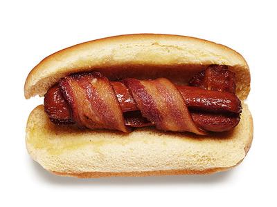 bacon rapped hot dog