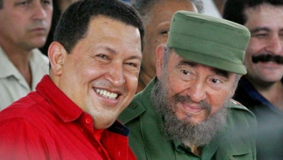 The presidents of Cuba and Venezuela, Fidel Castro (R) and Hugo Chavez (L), signed the agreement Oct. 30, 2000.