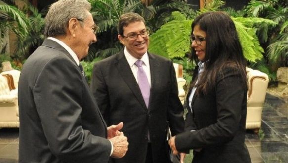 Raul, Bruno y Delcy Rodriguez