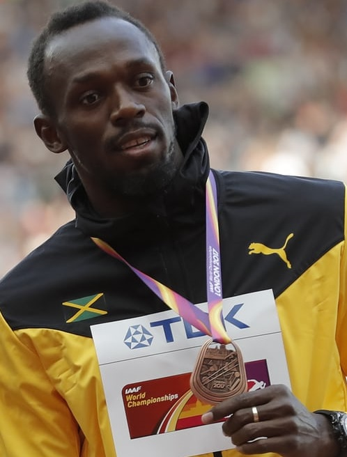 usain bolt wins bronze at wac 2017c